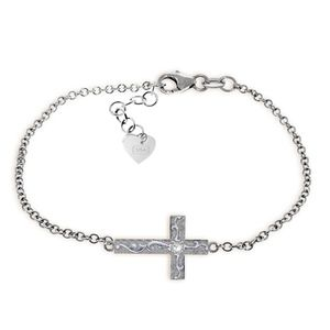 SOLID GOLD CROSS BRACELET WITH NATURAL DIAMOND